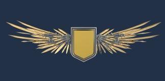 Escudo en blanco realista con las alas estilizadas hechas de espadas, de cuchillas y de dagas stock de ilustración