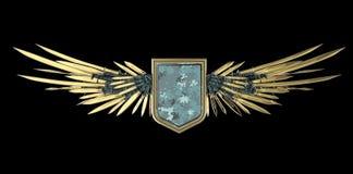 Escudo en blanco realista con las alas estilizadas hechas de espadas, de cuchillas y de dagas ilustración del vector