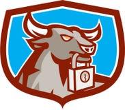 Escudo enojado del candado de la cabeza de Bull retro Imagenes de archivo
