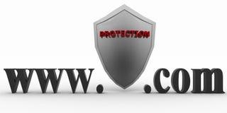 Escudo entre WWW y el punto com. Concepto de la protección contra las páginas web desconocidas Imagen de archivo