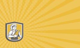 Escudo femenino de Holding Bread Loaf del panadero de la tarjeta de visita ilustración del vector