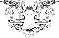 Escudo heráldico de la cresta del escudo de armas de Pegaso Imágenes de archivo libres de regalías