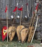 Escudo, lanza, casco Imágenes de archivo libres de regalías