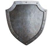 Escudo medieval del metal aislado Imagen de archivo libre de regalías