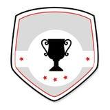 Escudo monocromático con la taza y las estrellas del trofeo Fotos de archivo