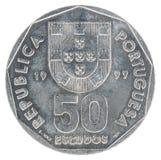 Escudo portugais de pièce de monnaie Image stock