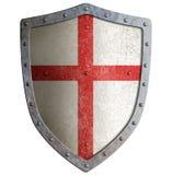 Escudo templar o del cruzado viejo del metal aislado Imagen de archivo