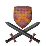 Escudo viejo y dos espadas Imagen de archivo libre de regalías