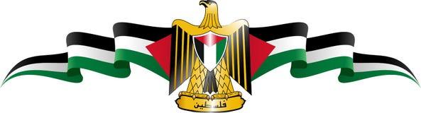 Escudo y bandera de Palestina Imagen de archivo libre de regalías