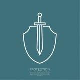 Escudo y espada Fotografía de archivo libre de regalías