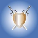 Escudo y espadas Imagen de archivo libre de regalías