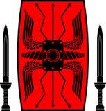 Escudo y espadas antiguos Imágenes de archivo libres de regalías
