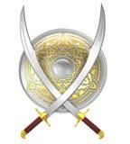 Escudo y espadas cruzadas de la cimitarra Imagen de archivo libre de regalías