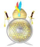 Escudo y espadas cruzadas de la cimitarra con el turbante Imágenes de archivo libres de regalías