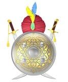Escudo y espadas cruzadas de la cimitarra con el turbante Imagen de archivo