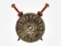Escudo y espadas espartanos stock de ilustración