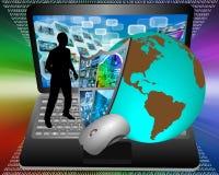 Escudo y ordenador portátil de la tierra Imágenes de archivo libres de regalías