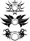 Escudos adornados en tonos negros Fotografía de archivo