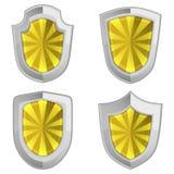 Escudos amarillos fijados con las rayas aislados Imágenes de archivo libres de regalías
