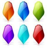Escudos brillantes con la reflexión y sombra - escudo en blanco icono-sh libre illustration