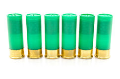 12 escudos de espingarda do calibre usados caçando Imagens de Stock Royalty Free