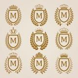 Escudos de oro con la guirnalda del laurel Fotografía de archivo