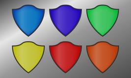 Escudos del vector con un esquema negro stock de ilustración
