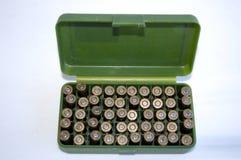 Escudos do injetor na caixa da munição imagens de stock royalty free