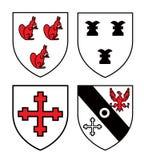 Escudos medievales auténticos de la heráldica Fotos de archivo libres de regalías