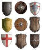 Escudos medievales del caballero fijados aislados Imagen de archivo libre de regalías
