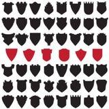 Escudos negros y rojos Imagen de archivo