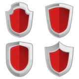 Escudos rojos fijados con las rayas aislados Fotografía de archivo libre de regalías