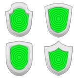 Escudos verdes fijados con las rayas aislados Imagen de archivo