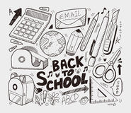 Escuela - colección de los doodles Imagen de archivo libre de regalías
