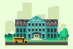 Escuela con el autobús Fotos de archivo libres de regalías
