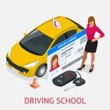Escuela de conducción del concepto de diseño o aprendizaje conducir Ejemplo isométrico plano Fotos de archivo libres de regalías
