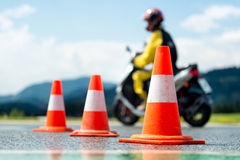 Escuela de entrenamiento de la motocicleta Foto de archivo libre de regalías