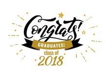 Escuela de graduados de Congrats stock de ilustración