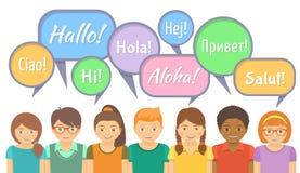 Escuela de idiomas con los niños felices que dicen hola libre illustration