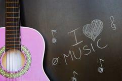 Escuela de música de la guitarra para los niños Fotografía de archivo libre de regalías