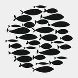 Escuela de pescados Un grupo de pescados de la silueta nada en un círculo Vida marina Ilustración del vector tatuaje Pescados del ilustración del vector