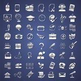 Escuela de plata, universidad, iconos de la educación Imágenes de archivo libres de regalías