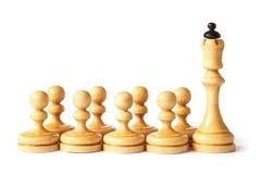 Escuela del ajedrez con la reina y los empeños   Imagen de archivo libre de regalías