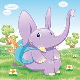 Escuela del elefante del bebé Imagen de archivo