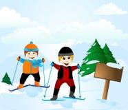 Escuela del esquí Imagen de archivo