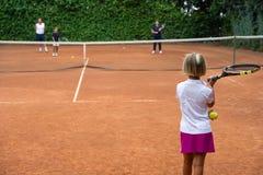 Escuela del tenis Fotos de archivo libres de regalías