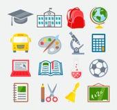 Escuela e iconos coloridos de la educación Foto de archivo libre de regalías