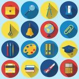 Escuela e iconos planos de la educación con la sombra larga Foto de archivo libre de regalías