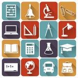 Escuela e iconos planos de la educación Sistema del vector Imágenes de archivo libres de regalías