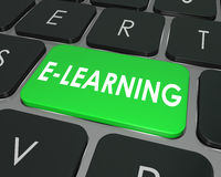 Escuela en línea de la educación de la llave de teclado de ordenador del aprendizaje electrónico Imágenes de archivo libres de regalías